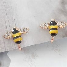 One Pair Gold  Ear Cuff Women bee Insect Crystal No pierced Clip Earrings For Women