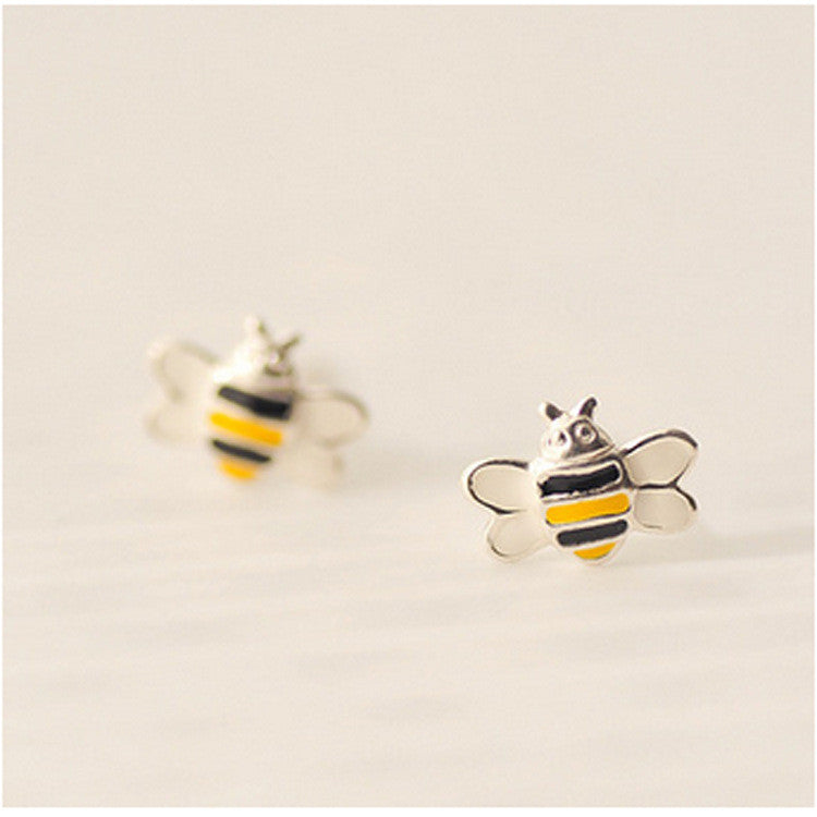 Sterling Silver Little Bee Stud Earrings For Women Cute Style Girl Gift