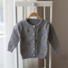 Kids Sweater with Bee Embroidery Cardigan