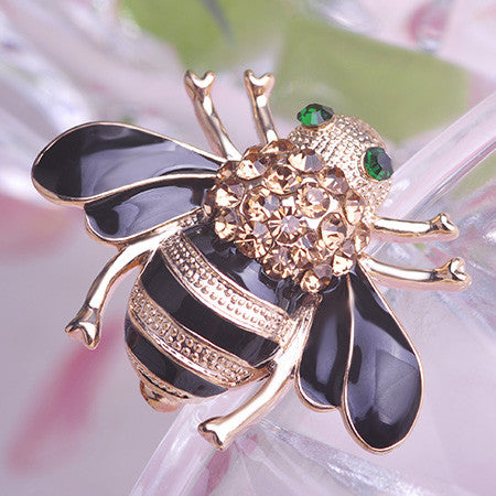 Cute Yellow Bee Corsages Crystal Brooches Pin Jewelry