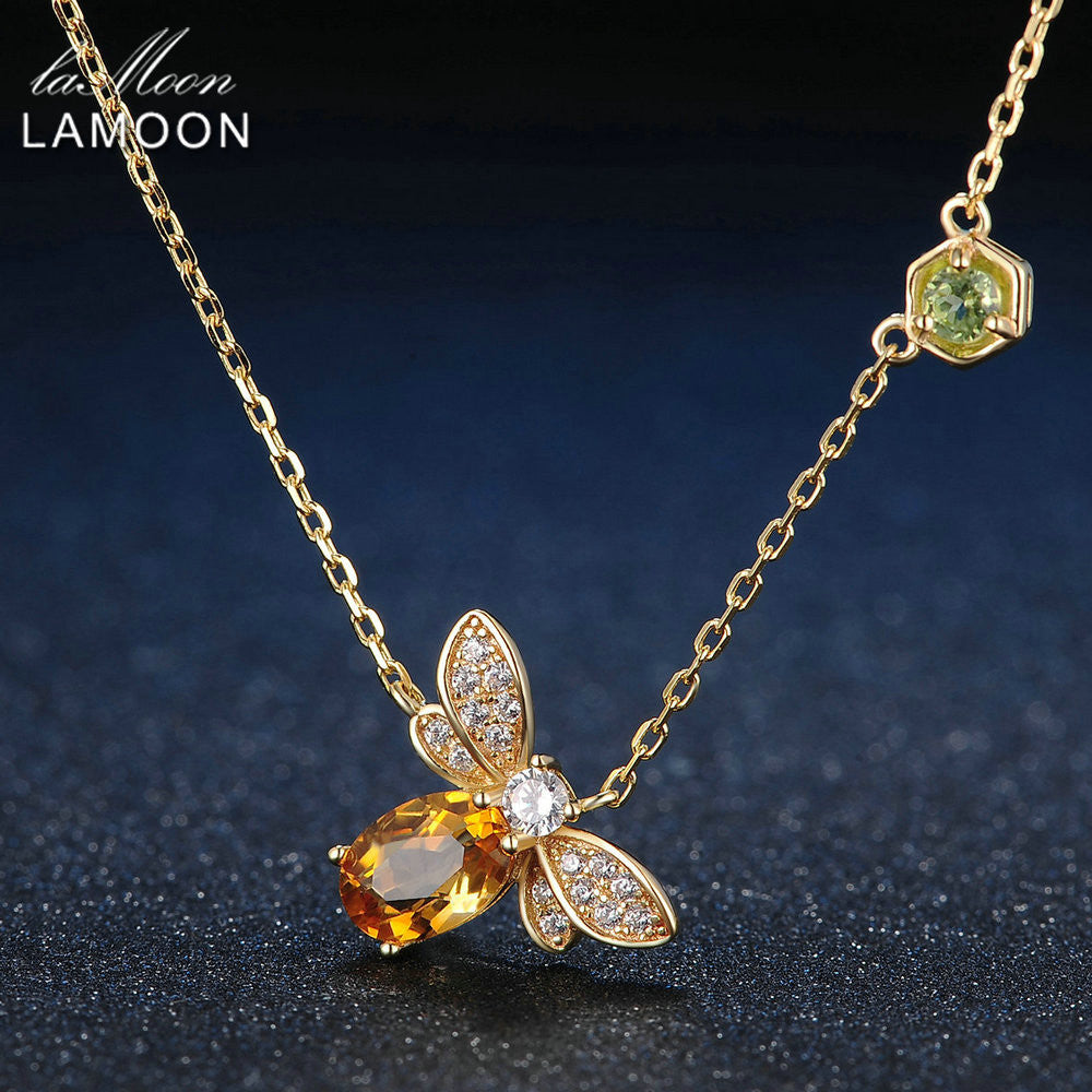 Bee Natural Citrine Sterling Silver and  Yellow Gold Plated Chain Pendant Necklace