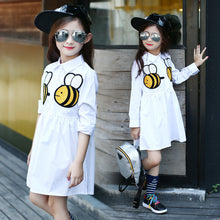 Long Sleeve White Bee Girls Cartoon Bees Dress