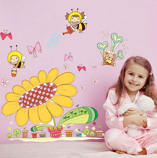 Kids bee and spring wall stickers