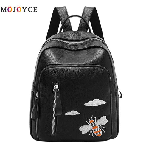 Cute Bee Embroidery Backpack Womens Bag