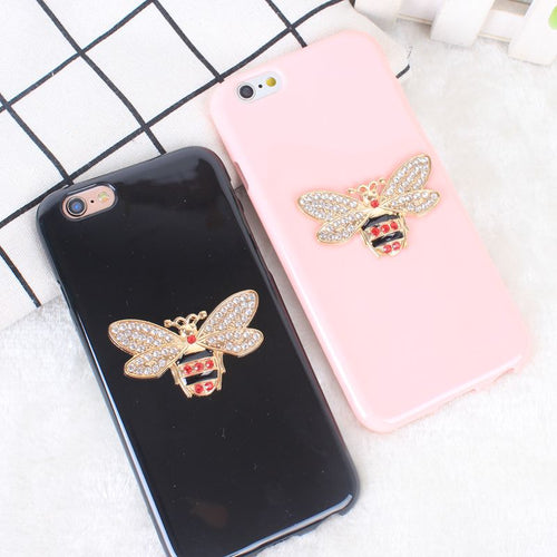 Luxury Rhinestones Bee Case For iPhone 7 Diamond Soft TPU Silicone Back Cover