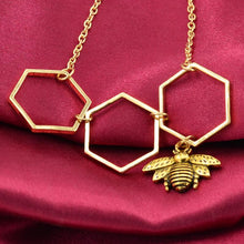 Adjustable Color Honeycomb Bee Pendant Necklace
