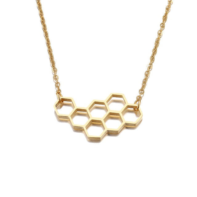 Stainless Steel Necklace For Women Lover's Heart Honeycomb Bee