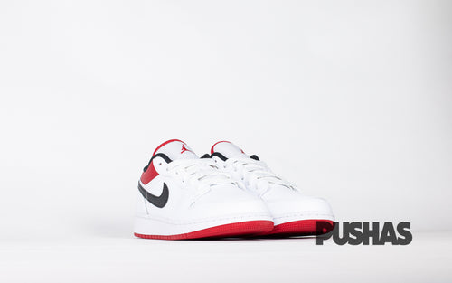 pushas-nike-Air-Jordan-1-Low-White-University-Red-Black