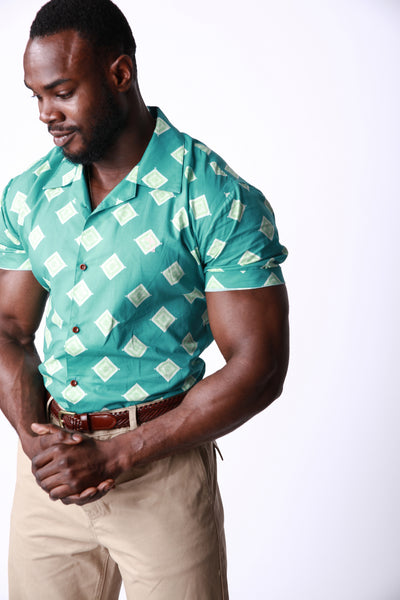 Toru Mint | Muscle-Fit Printed Shirt