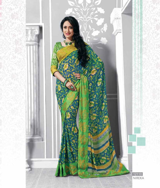 Blue Georgette  Printed with lace border work Saree VH,12110