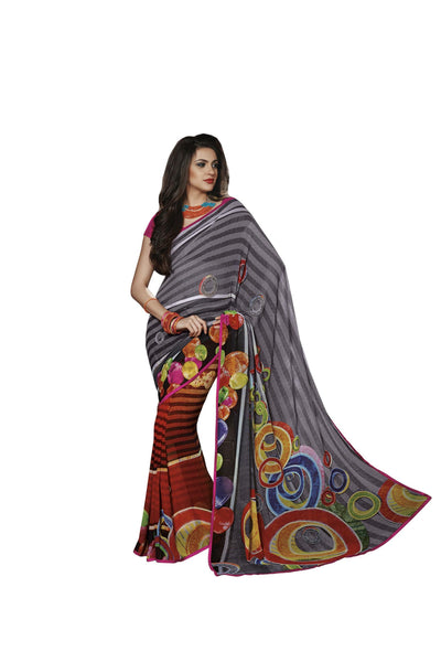Grey Orange Georgette Art Silk Printed work Saree VH,12024