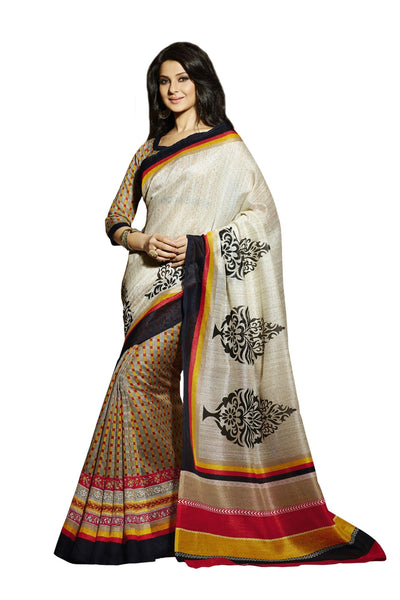 Cream Grey Bhagalpuri Silk Printed work Saree VipHyp12512