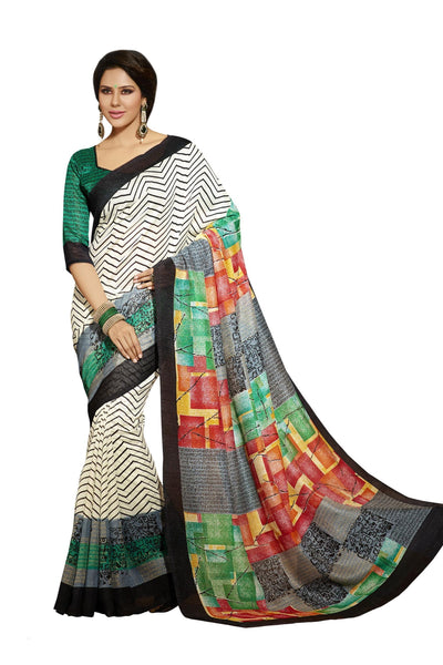 Cream Grey Bhagalpuri Silk Printed work Saree VipHyp12524