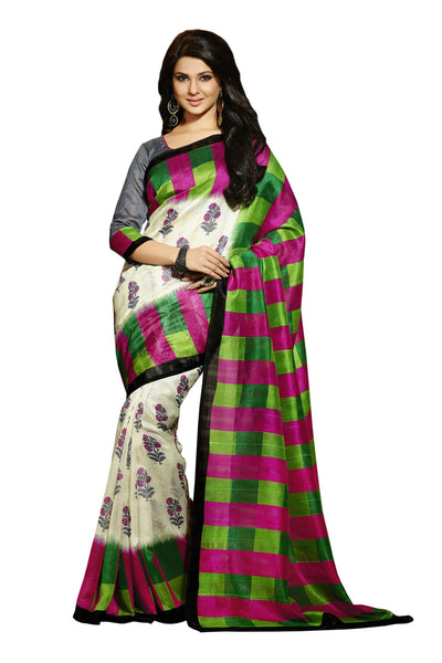 Green Cream Bhagalpuri Silk Printed work Saree VipHyp12534