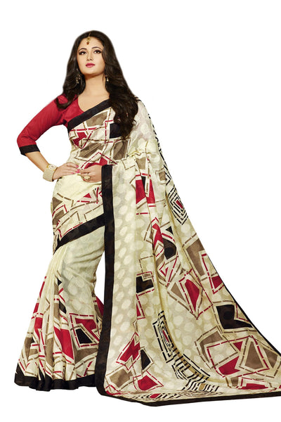 Cream Bhagalpuri Silk Printed work Saree VipHyp12540