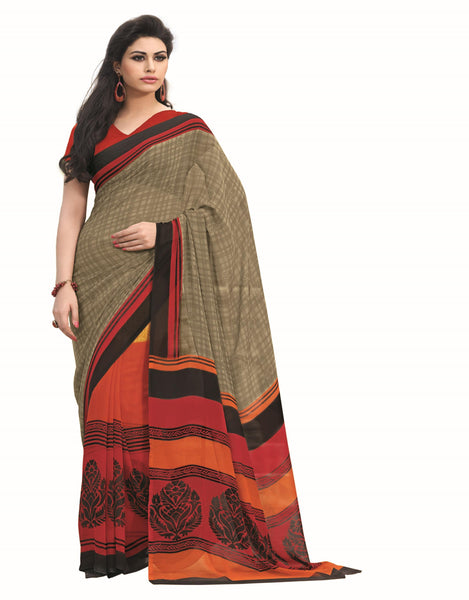 Cream Orange Georgette Printed work Saree VipHyp12811