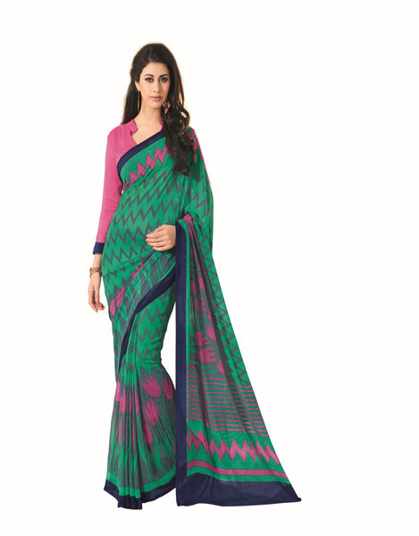 Green Georgette Printed work Saree VipHyp12821