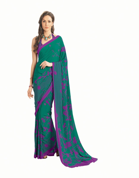 Green Crepe Printed work Saree VipHyp12914