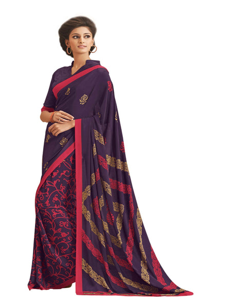 Blue Crepe Printed work Saree VipHyp12922
