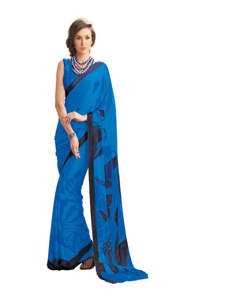 Blue Crepe Printed work Saree VipHyp12925