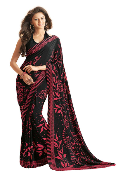 Black Crepe Printed work Saree VipHyp12928