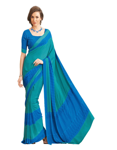 Blue Crepe Printed work Saree VipHyp12935