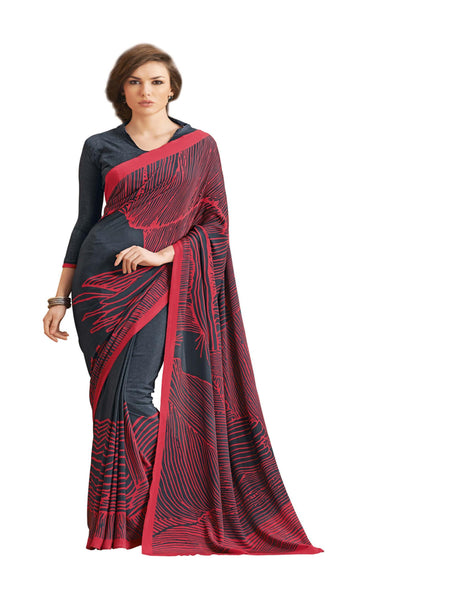 Grey Crepe Printed work Saree VipHyp12936