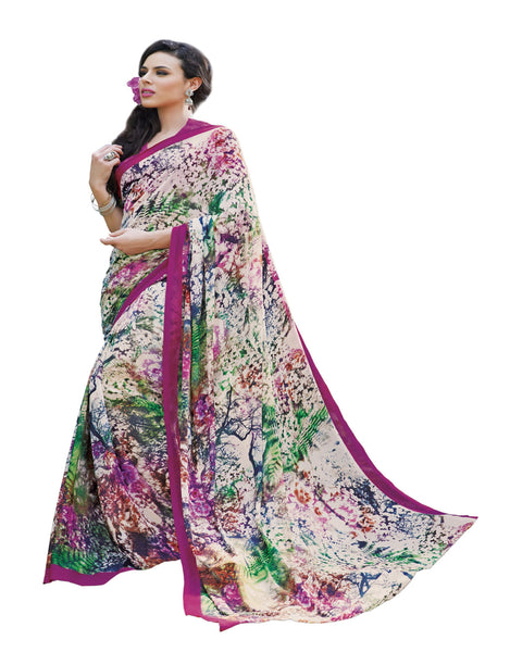 Cream Crepe Printed work Saree VipHyp13012