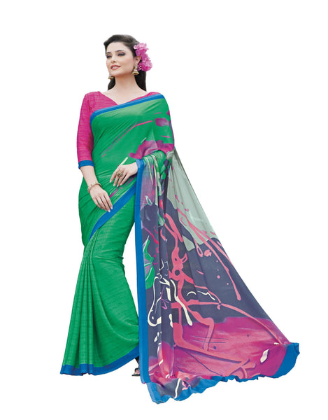 Green Grey Crepe Printed work Saree VipHyp13015
