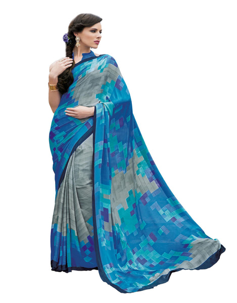 Grey Blue Crepe Printed work Saree VipHyp13016