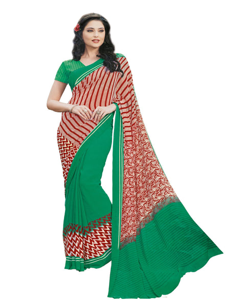 Cream Green Crepe Printed work Saree VipHyp13018