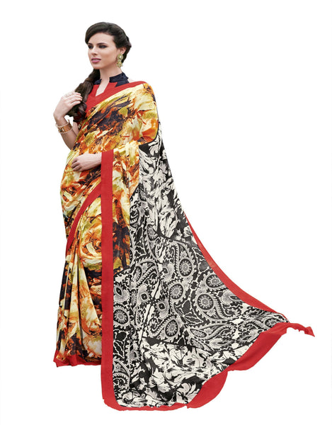 Cream Black Crepe Printed work Saree VipHyp13023