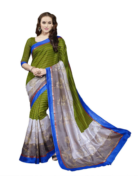 Green Grey Art Silk Printed work Saree VipHyp13346