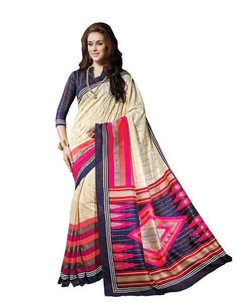 Cream Blue Art Silk Printed work Saree VipHyp13347