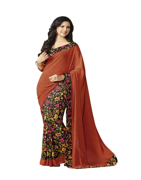 Brown Black Crepe Printed work Saree VipHyp14121