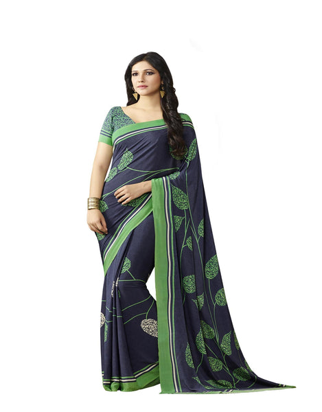 Blue Crepe Printed work Saree VipHyp14126