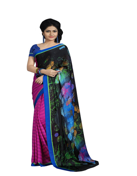 Black Pink Crepe Printed work Saree VipHyp14155