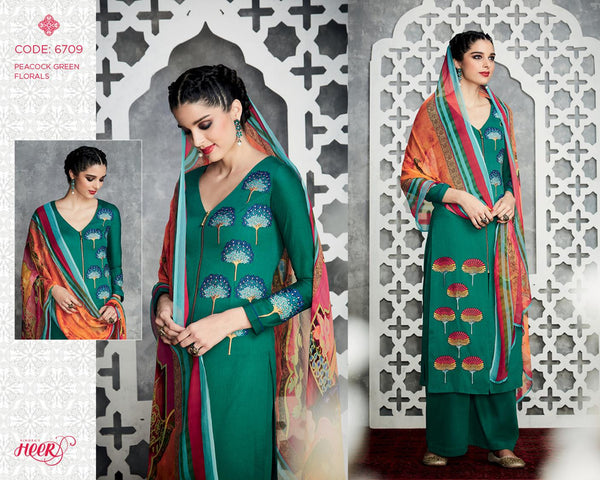 Heer Vol 18 Green Pure Cotton Designer Salwar Kameez,18HER6709