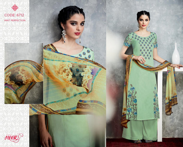 Heer Vol 18 Green Pure Cotton Designer Salwar Kameez,18HER6712