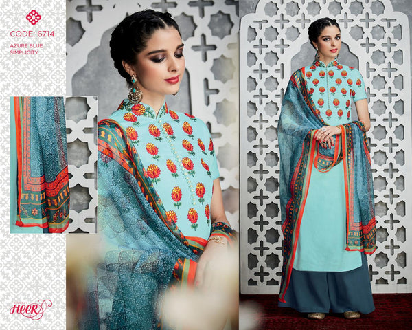 Heer Vol 18 Blue Pure Cotton Designer Salwar Kameez,18HER6714