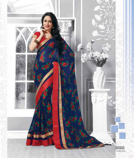 Blue Georgette  Printed with lace border work Saree V.HYP,12119