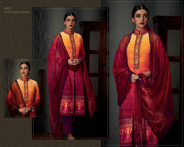 Heer Vol 19 Multicolor Pure Pashmina Designer Dress Material,19HER6801