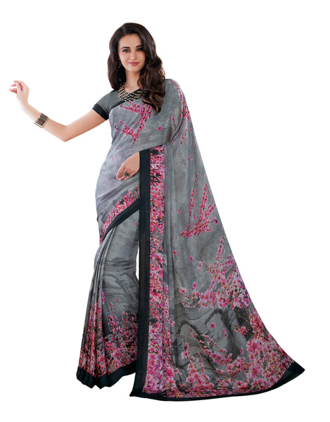 Grey Silk Crepe Printed Work Saree VipHyp20016