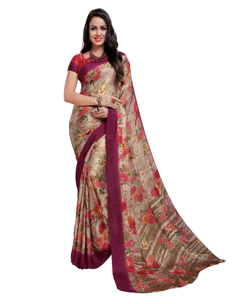 Cream Silk Crepe Printed Work Saree VipHyp20022