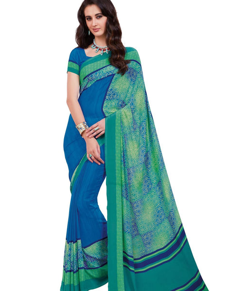 Blue Crepe Printed Work Saree VipHyp20110