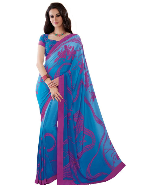 Blue Crepe Printed Work Saree VipHyp20119