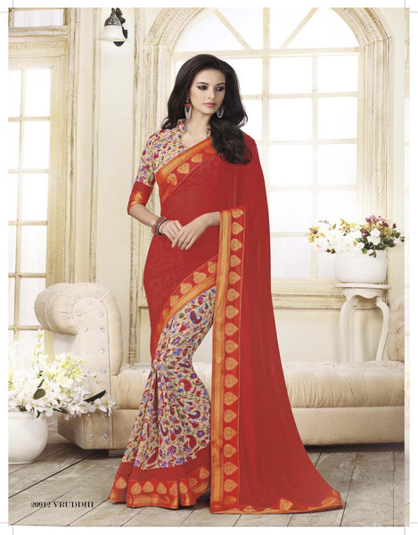 Maroon Cream Georgette Printed with lace border Saree VipHyp20912