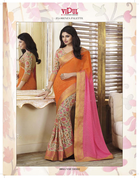 Cream Pink Orange Georgette Printed with lace border Saree VipHyp20915
