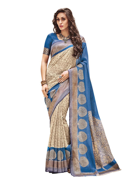 Vipul CreamBlue Art Silk Printed Work Saree,21144