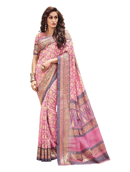 Vipul Pink Art Silk Printed Work Saree,21145